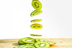 Fall of Slice kiwi Stock Photography