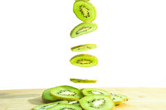 Fall of Slice kiwi Stock Image
