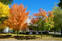 Fall in small town. Colorful fall scene in a small town in Indiana Stock Image