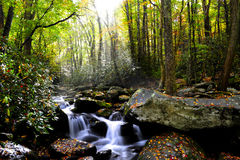Fall in the Smoky Mountains. Sun rays shinning through the fall forest with a slow moving stream Stock Photo