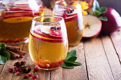 Fall sparkling drink with apple cider and pomegranate Royalty Free Stock Photos