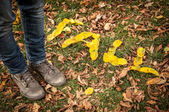 FALL spelled out with leaves Royalty Free Stock Photos