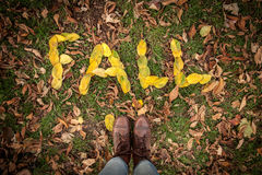 FALL spelled out with leaves Stock Image