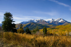 Fall Splender. High Mountain Flat in the fall showing all the fall colors with mountains in the background stock photos