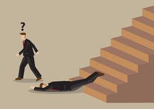 Fall from Stairs Accident at Office Workplace Cartoon Vector Ill Stock Photo