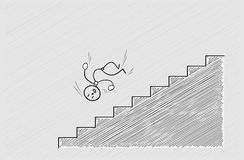 Fall from stairs. Man falling down from stairs, accident, crosshatched image stock illustration