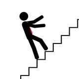 Fall on the stairs. Vector/illustration. Man fall on his back on stairs Stock Photo
