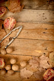 Fall still life with pomegranates Royalty Free Stock Photography