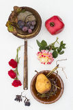 Fall Still Life. On a White Background Stock Photos