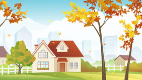 Fall suburb. Illustration of an autumn suburb Stock Images