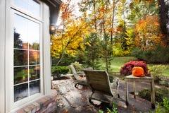 Fall sunlight suburban garden stock image