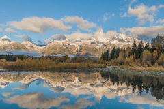 Fall Sunrise Reflection in the Tetons Royalty Free Stock Photography