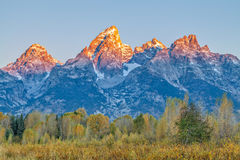 Fall Sunrise in the Tetons Royalty Free Stock Images