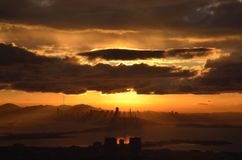 Fall Sunset Over The Oakland Bay Area Stock Photography