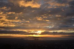 Fall Sunset Over The Oakland Bay Area Royalty Free Stock Photography