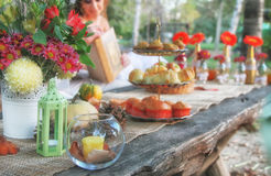 Fall and table decorations in nature Stock Photo