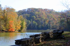 Fall in Tennessee. A peaceful lake reflects the changing leaves on the trees Stock Photography