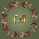 Fall text in autumn leaves wreath ornament. Autumn orange and red foliage royalty free illustration