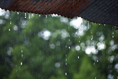 Fall in thailand. Rain drop from roof in thailand Stock Photography
