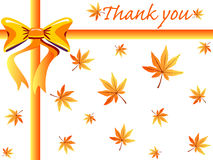 Fall thanks giving card. Autumn gift box design with maple leaves ,orange bow and thank you note - VECTOR Stock Photos