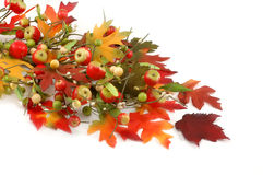 Fall, Thanksgiven decoration from leafs and apples royalty free stock photography