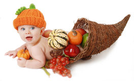 Fall Thanksgiving Baby in a Cornucopia. Festive fall Thanksgiving baby in a horn of plenty cornucopia Stock Photography