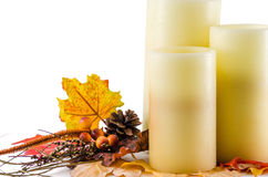 Fall Thanksgiving Candles decor Stock Photography