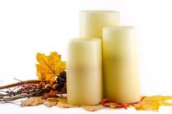 Fall Thanksgiving Candles decor Stock Photo