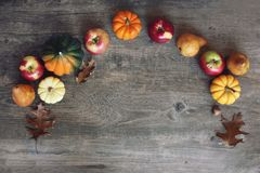 Fall Thanksgiving Harvest Background with Apples, Pumpkins, Pears, Leaves, Acorn Squash and Nut Border Over Wood, Shot Directly Ab. Colorful Fall Thanksgiving Stock Images