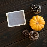 Fall Thanksgiving Invite or Menu Card with Vintage Torn Paper with Room or Space for your words, copy, or text. Square photo with stock photos