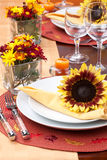 Fall theme dinner table set Stock Images