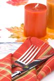 Fall theme dinner table settin Stock Image