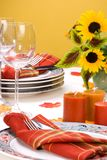 Fall theme dinner table settin Stock Images