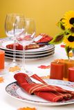 Fall theme dinner table settin Royalty Free Stock Images