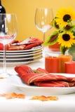 Fall theme dinner table settin stock photo
