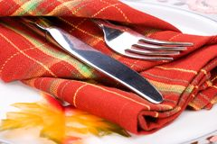 Fall theme dinner table settin royalty free stock photo