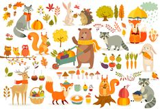 FAll Theme Set, Forest Animals Hand Drawn Style. Royalty Free Stock Photos