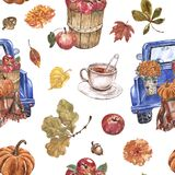 Fall themed seamless pattern. Watercolor truck with apples and mums in a basket, pumpkins, autumn leaves, cup of warm tea.