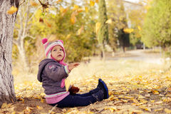 Fall for toddler girl Stock Photography