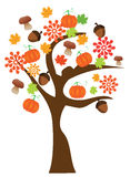 Fall tree. Illustration of a tree with fall elements Royalty Free Stock Image