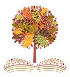 Fall tree in farm meadow. Fall autumn tree graphic with feild meadow  crop below Stock Image