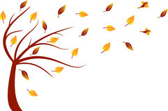 Fall Tree Illustration. Fall tree with fall leaves and bids, flying birds, falling leaves, foliage, yellow leaves, brown leaves, nature, flora, fauna Stock Photo