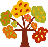 Fall Tree, Tree Vector. Fall tree with multicolor leaves, orange leaves, red leaves, green leaves, foliage, autumn tree leaf, fall decoration, autumn decorative Royalty Free Stock Photography