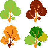 Fall Trees, Autumn Trees, Tree Vectors. Multicolored Brown Green and Orange Fall Trees, Tree Vectors,orange tree, foliage, fall, autumn , fall decoration, autumn Royalty Free Stock Image