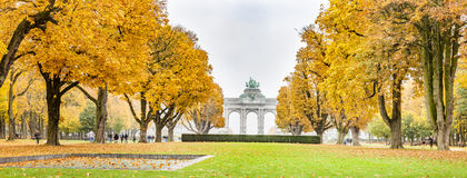 Fall trees in Jubelpark and Triumphal Arch in Brussels, Belgium. Stock Photos
