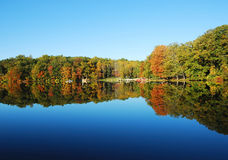 Fall trees and lake. A small lake in central Pennsylvania in early fall Royalty Free Stock Photography