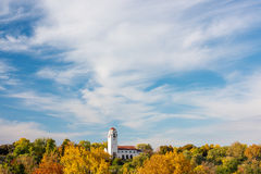 Fall trees souround the train Depot in Boise Idaho. City of trees Boise Idaho train Depot with full fall colors Stock Photos