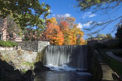 Fall trees and waterfall. Fall trees overlooking a beautiful waterfall Royalty Free Stock Images
