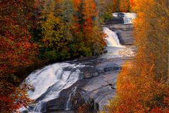 Fall at Triple Falls at Dupont State Forest Stock Images