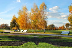 Fall in Tsaritsynsky park in Moscow. Autumn clear day in Tsaritsynsky park reserve in Moscow Stock Images
